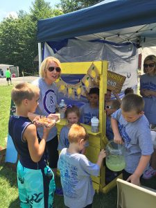 Eckman's students ran a lemonade stand on race day to raise funds for their favorite teacher's cancer recovery.